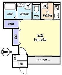 船橋市坪井東1丁目新築アパート(仮称) 1階1Kの間取り