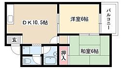 愛知県名古屋市緑区池上台3の賃貸アパートの間取り