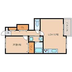 近鉄生駒線 南生駒駅 徒歩13分の賃貸アパート 1階1LDKの間取り