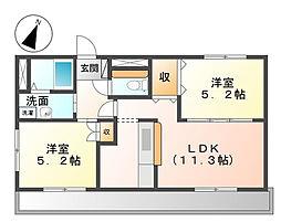 愛知県名古屋市守山区鼓が丘2の賃貸アパートの間取り
