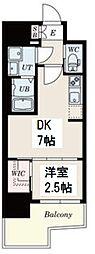 レジデンス難波南 9階1DKの間取り
