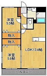 ユーミーシャルマン 3階2LDKの間取り