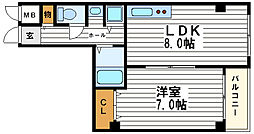 コーポ泰山ときわ[7階]の間取り