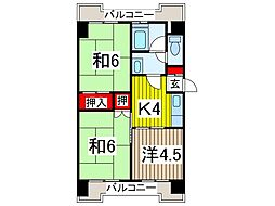 並木第一コーポサンキョー[5階]の間取り