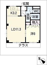 愛知県清須市西枇杷島町城並2丁目の賃貸マンションの間取り