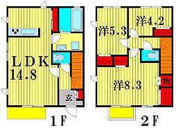 [テラスハウス] 千葉県市川市北国分1丁目 の賃貸【/】の間取り