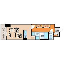 レジデンシア鶴舞公園 5階ワンルームの間取り