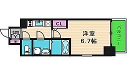 エスリード大阪上本町ブランシュ 13階1Kの間取り