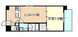JR瀬戸大橋線 備前西市駅 徒歩6分の賃貸マンション 2階1LDKの間取り