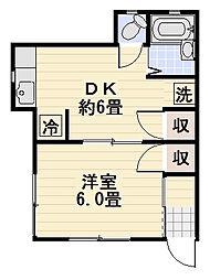 草柳荘[202号室]の間取り