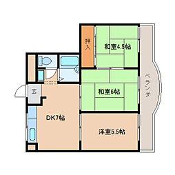 近鉄天理線 前栽駅 徒歩2分の賃貸マンション 4階3DKの間取り