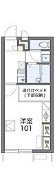 南海高野線 滝谷駅 徒歩15分の賃貸アパート 1階1Kの間取り