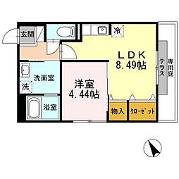 広島県広島市南区上東雲町の賃貸アパートの間取り