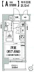 クラリッサ横浜フロード 8階ワンルームの間取り
