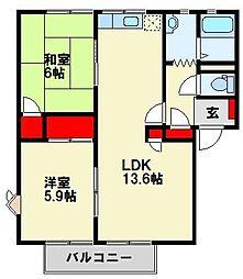 ファミール二島 B棟[201号室]の間取り
