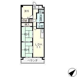 ビバリーマンション5[6階]の間取り