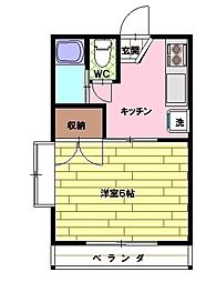 サニーハイムミツギ[203号室]の間取り