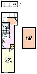 西武国分寺線 恋ヶ窪駅 徒歩12分の賃貸アパート 2階1Kの間取り