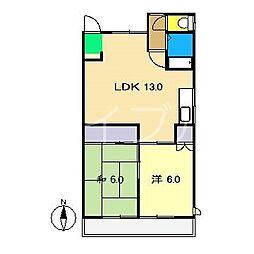 コーポプチクレール[2階]の間取り