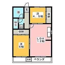 ハニリリカマンション[3階]の間取り