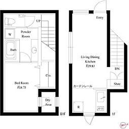 東京メトロ副都心線 西早稲田駅 徒歩9分の賃貸マンション 1階1LDKの間取り