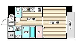 アール大阪リュクス 4階1DKの間取り