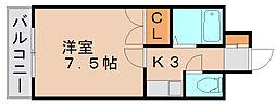 キャンパスシティ箱崎[4階]の間取り