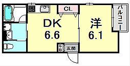 ガーデンヒルズIII 3階1DKの間取り