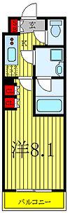 間取り,1K,面積25.5m2,賃料7.6万円,都営三田線 西台駅 徒歩10分,都営三田線 蓮根駅 徒歩9分,東京都板橋区蓮根3丁目