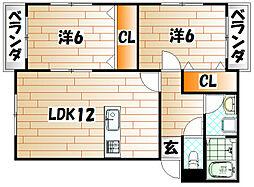 プレステージタカラN[1階]の間取り