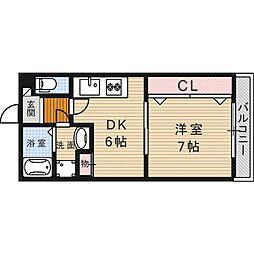 大阪府高槻市上本町の賃貸マンションの間取り