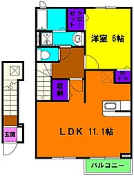 静岡県浜松市南区飯田町の賃貸アパートの間取り