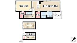 フローラルメゾン松和花壇 3階1LDKの間取り
