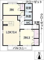 カトル・セゾン B棟[1階]の間取り