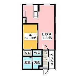 愛知県名古屋市中区松原2丁目の賃貸アパートの間取り