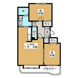 北海道札幌市中央区宮の森四条3丁目の賃貸マンションの間取り