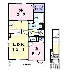 香川県丸亀市土器町西5丁目の賃貸アパートの間取り