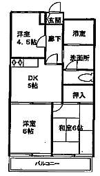 神奈川県川崎市宮前区宮前平3丁目の賃貸アパートの間取り