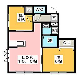 バディーズハウス 1階2LDKの間取り