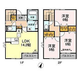 山梨県甲府市下飯田の賃貸アパートの間取り