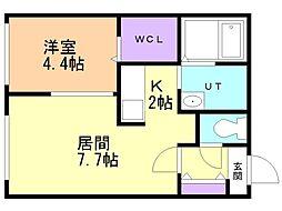 仮)澄川2-3B棟 4階1LDKの間取り