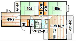 久岐の浜シーサイド4棟[4階]の間取り
