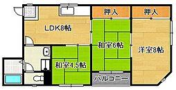 大阪府大阪市平野区平野南2丁目の賃貸マンションの間取り