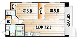 福岡県北九州市戸畑区小芝3-の賃貸マンションの間取り