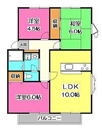 埼玉県所沢市中富南3丁目の賃貸アパートの間取り