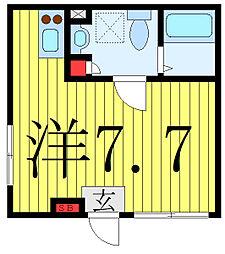 プラチナフォルム護国寺富士見坂 2階ワンルームの間取り