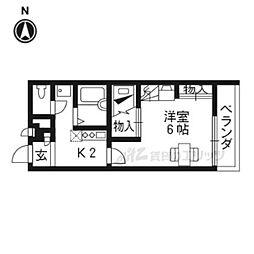 近鉄京都線 小倉駅 徒歩15分の賃貸アパート 1階1Kの間取り