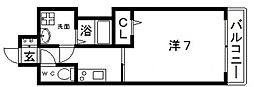 JR大阪環状線 寺田町駅 徒歩4分の賃貸マンション 3階1Kの間取り