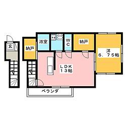 Maison de Kawasemi 2階1LDKの間取り