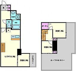 Imperial Suite 南堀江(インペリアルスイート南堀江) 13階3LDKの間取り